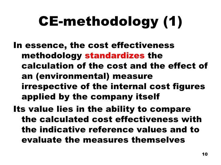 Cost Effectiveness Methodology and Sustainability