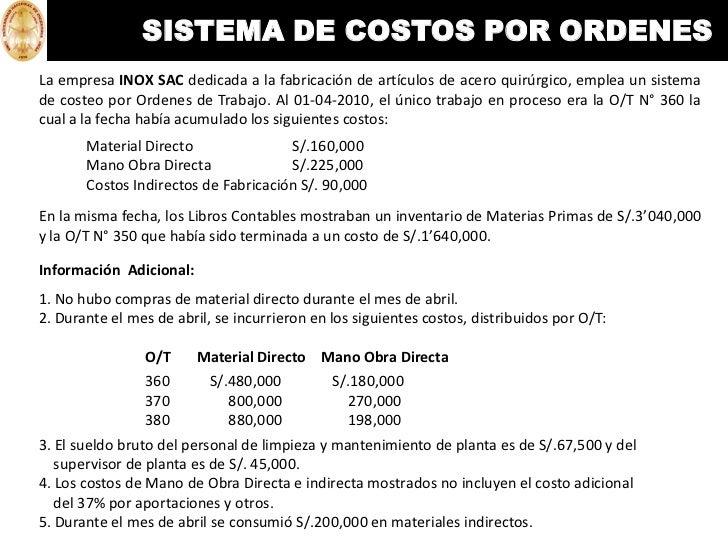 Sistema de costeo por ordenes de trabajo pdf