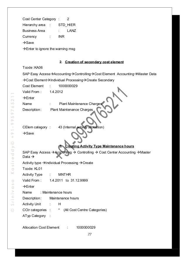 sap co step by step config guide user manual part 1 rh slideshare net SAP Controlling Document SAP PLM