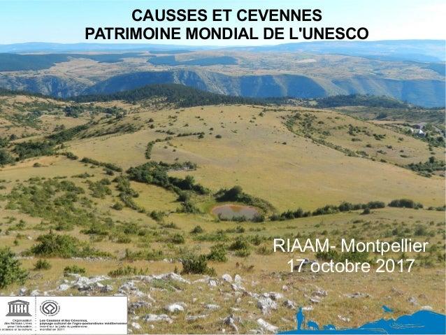 CAUSSES ET CEVENNES PATRIMOINE MONDIAL DE L'UNESCO RIAAM- Montpellier 17 octobre 2017