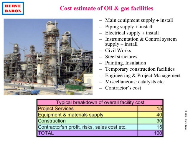 HERVE BARON Cost estimate of Oil & gas facilities ©2013–HervéBaron – Main equipment supply + install – Piping supply + ins...