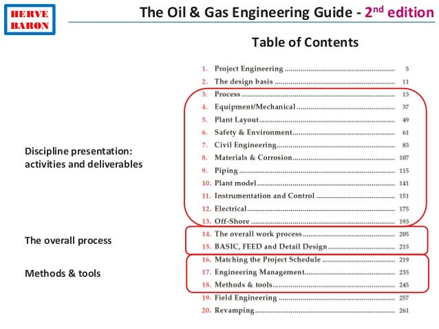 HERVE BARON The Oil & Gas Engineering Guide - 2nd edition Discipline presentation: activities and deliverables Table of Co...