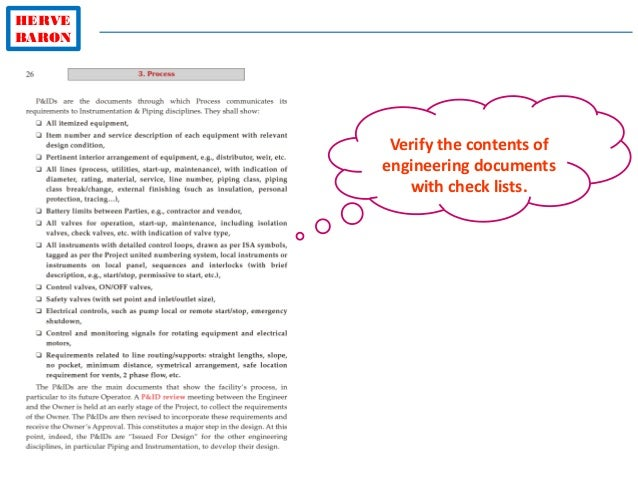 HERVE BARON Verify the contents of engineering documents with check lists.
