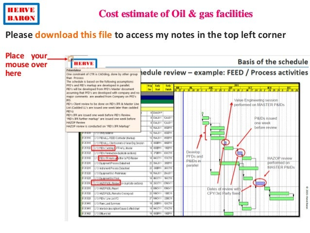 HERVE BARON Cost estimate of Oil & gas facilities ©2013–HervéBaron Please download this file to access my notes in the top...