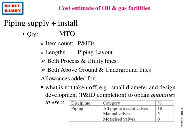 HERVE BARON Cost estimate of Oil & gas facilities ©2013–HervéBaron Piping supply + install • Qty: MTO » Item count: P&IDs ...