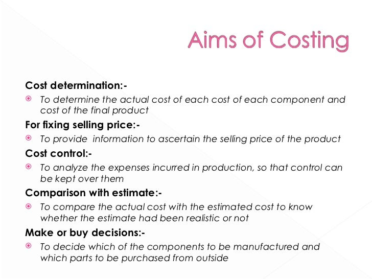 <ul><li>Cost determination:- </li></ul><ul><li>To determine the actual cost of each cost of each component and cost of the...