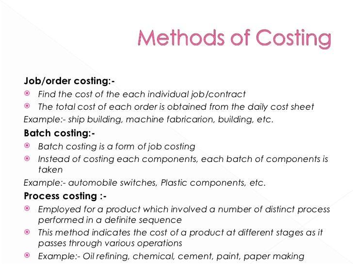 <ul><li>Job/order costing:- </li></ul><ul><li>Find the cost of the each individual job/contract </li></ul><ul><li>The tota...