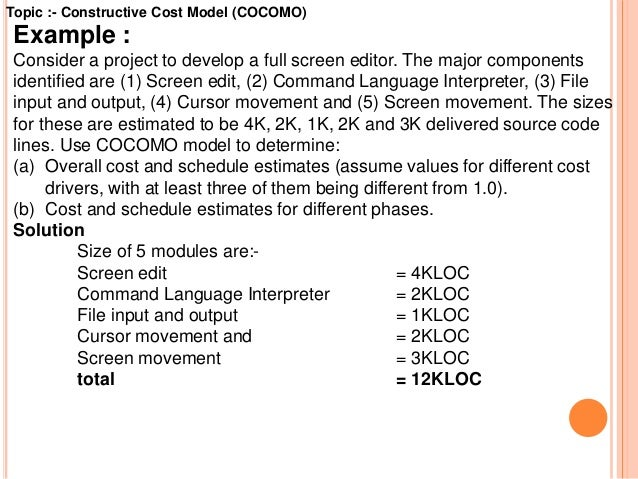 Loc, cocomo i & cocomo ii subject: software engineering.