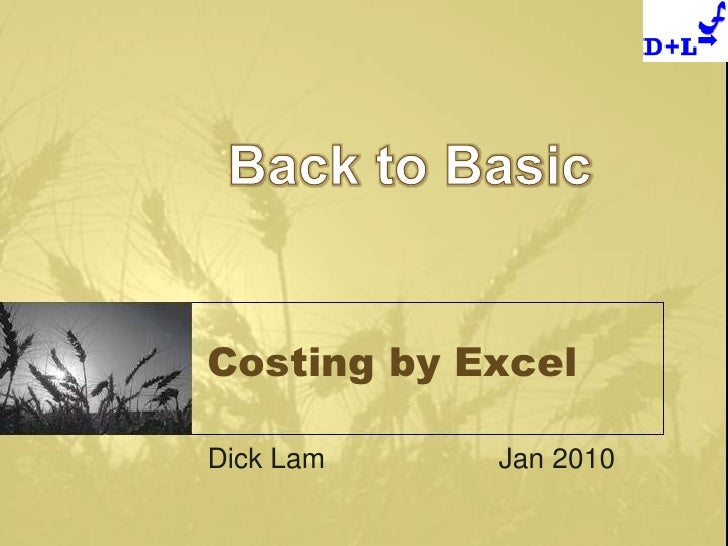 Costing by Excel<br />Dick LamJan 2010<br />Back to Basic<br />
