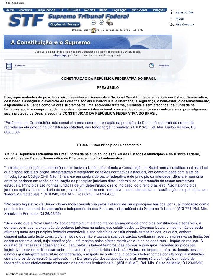 STF - Constituição                                                             Brasília, quarta-feira, 17 de agosto de 200...