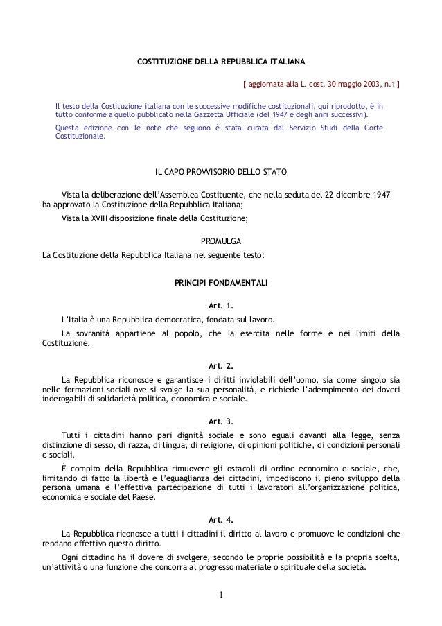 COSTITUZIONE DELLA REPUBBLICA ITALIANA                                                            [ aggiornata alla L. cos...