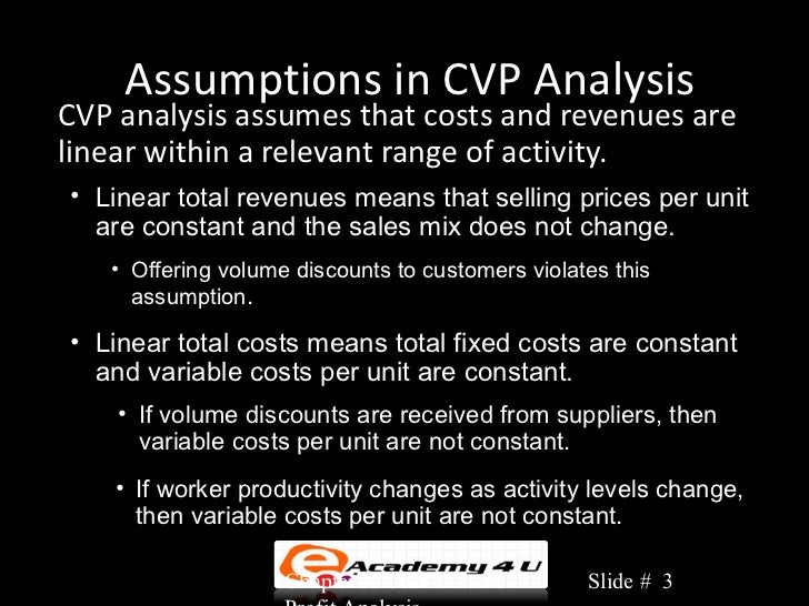 cvp assumption The assumption of linear property of total cost and total revenue relies on the  assumption that unit variable cost and selling price are constant.