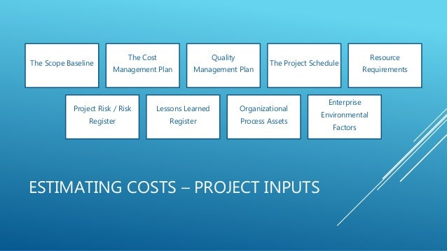 ESTIMATING COSTS – PROJECT INPUTS The Scope Baseline The Cost Management Plan Quality Management Plan The Project Schedule...