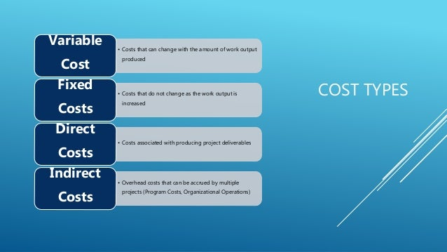 COST TYPES • Costs that can change with the amount of work output produced Variable Cost • Costs that do not change as the...