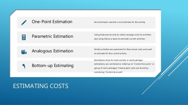 ESTIMATING COSTS One-Point Estimation Each estimator submits a cost estimate for the activity Parametric Estimation Using ...