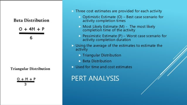 PERT ANALYSIS  Three cost estimates are provided for each activity  Optimistic Estimate (O) – Best case scenario for act...