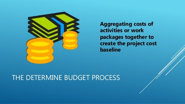 THE DETERMINE BUDGET PROCESS Aggregating costs of activities or work packages together to create the project cost baseline
