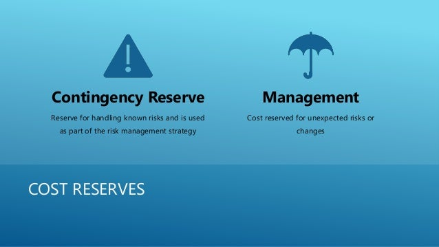 COST RESERVES Contingency Reserve Reserve for handling known risks and is used as part of the risk management strategy Man...