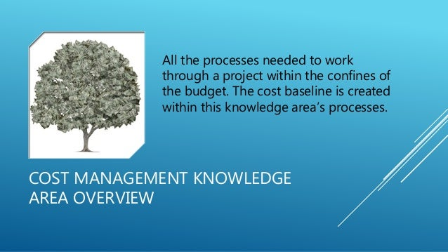 COST MANAGEMENT KNOWLEDGE AREA OVERVIEW All the processes needed to work through a project within the confines of the budg...