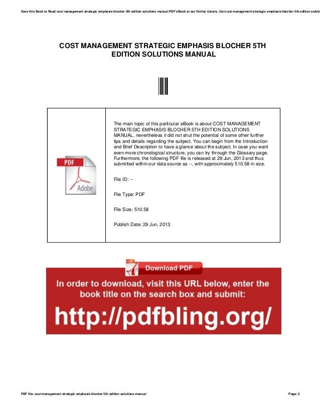 cost management strategic emphasis blocher 5th edition solutions manu rh slideshare net Ruth Metzler Oskar Freysinger