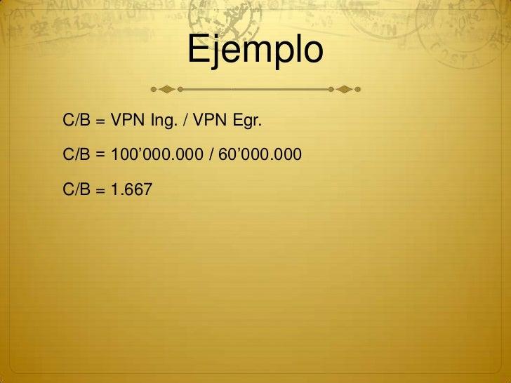 EjemploC/B = VPN Ing. / VPN Egr.C/B = 100'000.000 / 60'000.000C/B = 1.667
