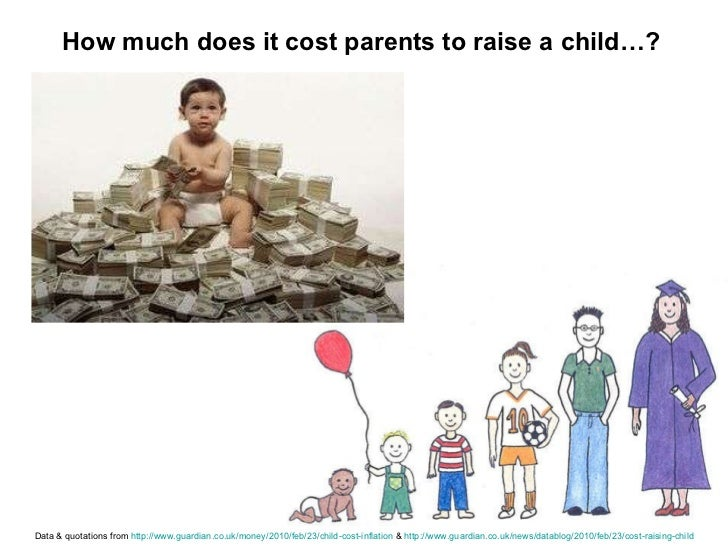 How much does it cost parents to raise a child…? Data & quotations from  http://www.guardian.co.uk/money/2010/feb/23/child...