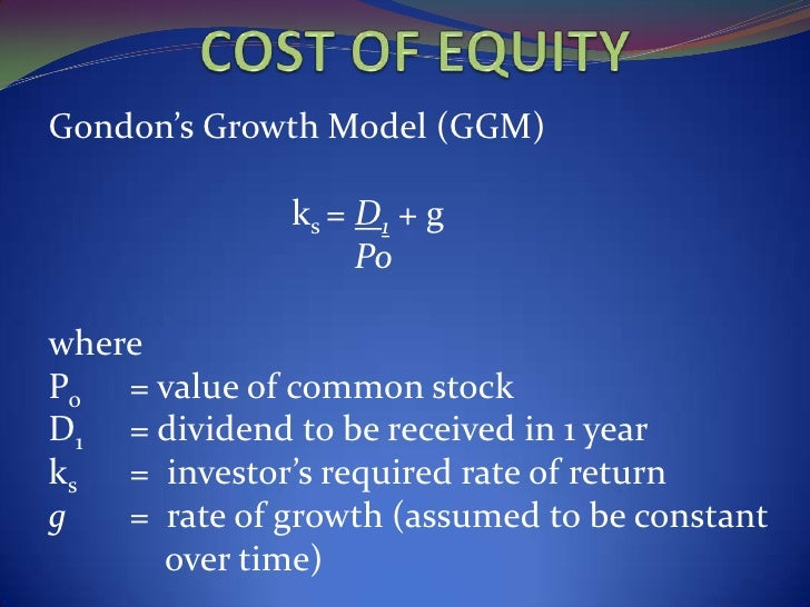 dividend growth model capital asset pricing model modern p D by using the capital asset pricing model e by averaging the costs based on the dividend growth model and the capital asset pricing model all else constant, which one of the following will increase a firm's cost of equity if the firm computes that cost using the security market line approach.
