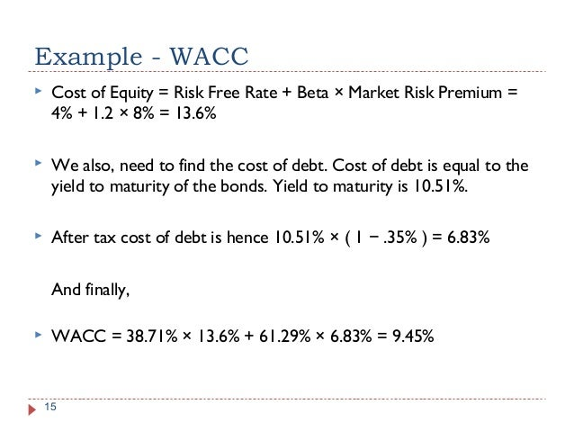wacc example Example: the weighted average cost of capital book value debt = $3 million preferred stock is selling for $100/share and there are 10,000 shares out.