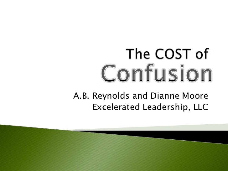 The COST of <br />A.B. Reynolds and Dianne Moore<br />Excelerated Leadership, LLC<br />Confusion<br />