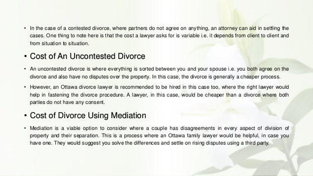 How much does a divorce cost in ontario
