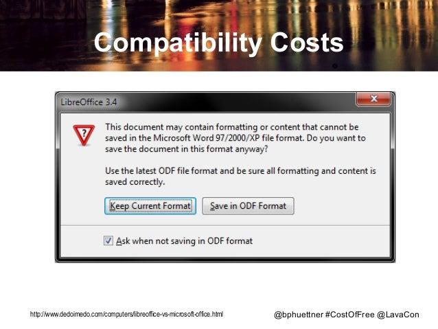 Compatibility Costs  http://www.dedoimedo.com/computers/libreoffice-vs-microsoft-office.html  @bphuettner #CostOfFree @Lav...
