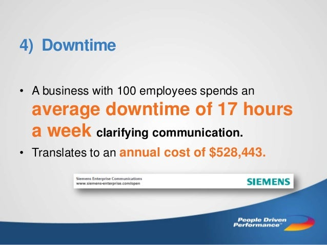 4) Downtime • A business with 100 employees spends an  average downtime of 17 hours a week clarifying communication. • Tra...