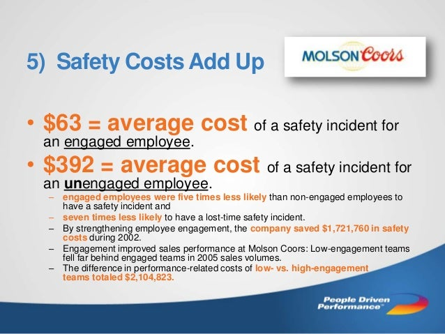5) Safety Costs Add Up  • $63 = average cost of a safety incident for an engaged employee.  • $392 = average cost of a saf...