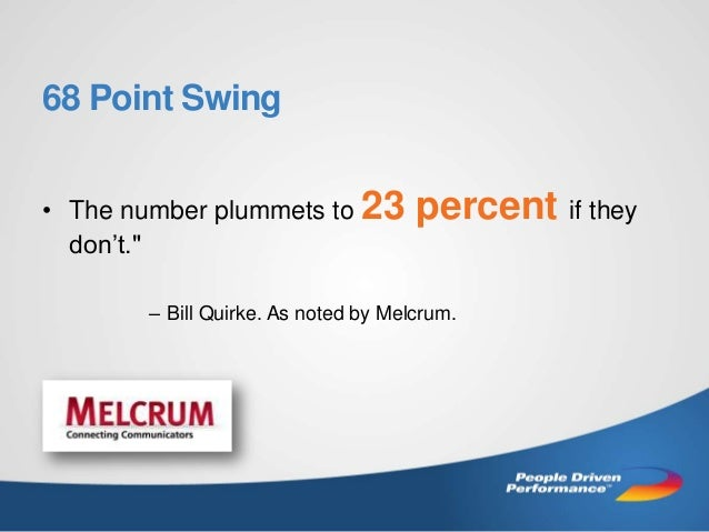 """68 Point Swing • The number plummets to 23 don't.""""  percent if they  – Bill Quirke. As noted by Melcrum."""