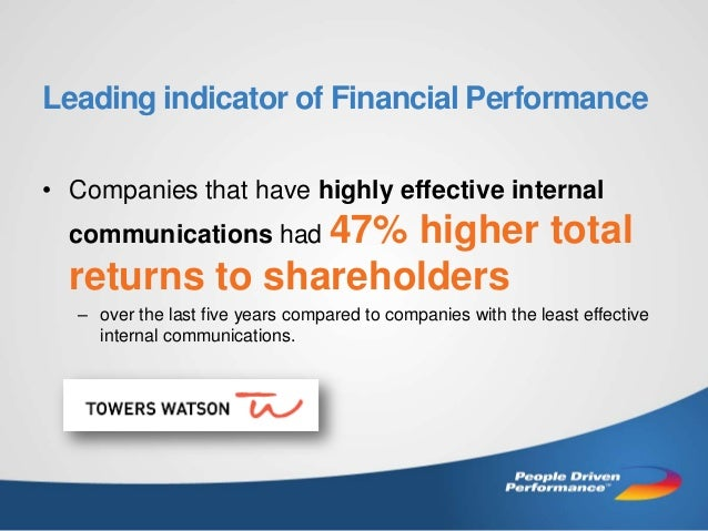 Leading indicator of Financial Performance • Companies that have highly effective internal communications had 47%  higher ...