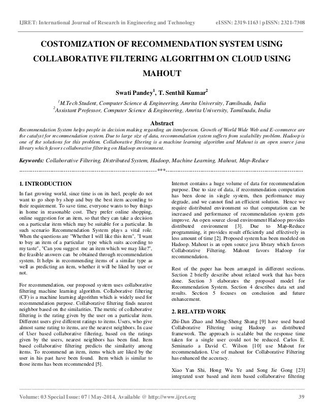 Costomization Of Recommendation System Using Collaborative Filtering
