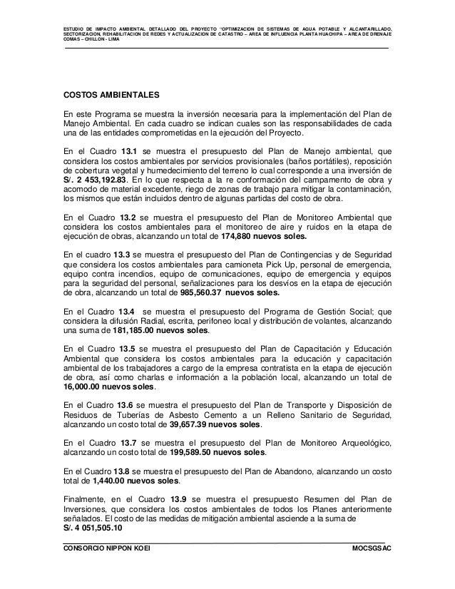 """ESTUDIO DE IMPACTO AMBIENTAL DETALLADO DEL PROYECTO """"OPTIMIZACION DE SISTEMAS DE AGUA POTABLE Y ALCANTARILLADO, SECTORIZAC..."""