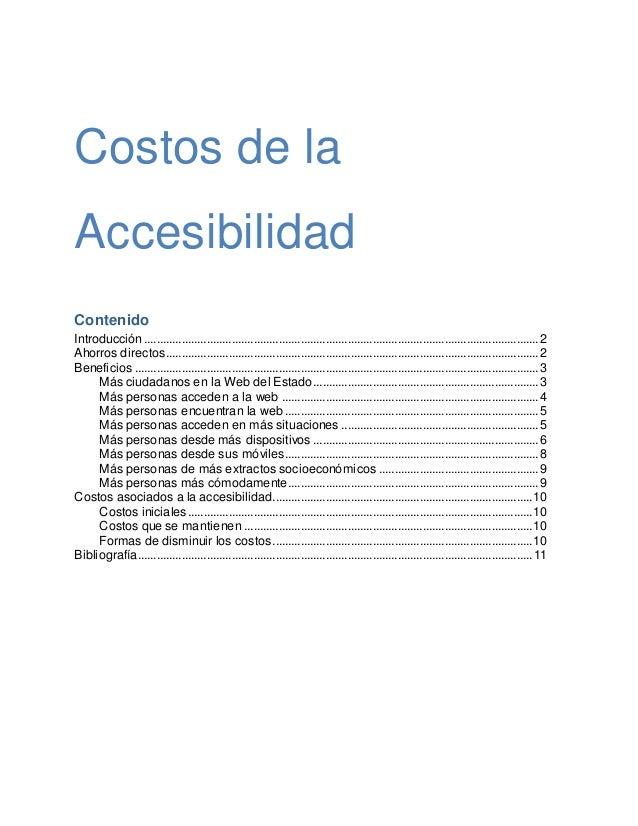 Costos de la Accesibilidad Contenido Introducción............................................................................