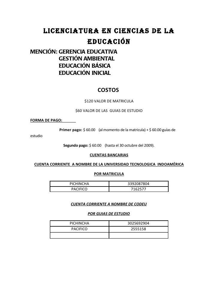 LICENCIATURA EN CIENCIAS DE LA                               EDUCACIÓNMENCIÓN: GERENCIA EDUCATIVA         GESTIÓN AMBIENTA...