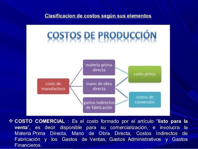 """Clasificacion de costos según sus elementos  COSTO COMERCIAL :Es el costo formado por el artículo """"listo para l..."""
