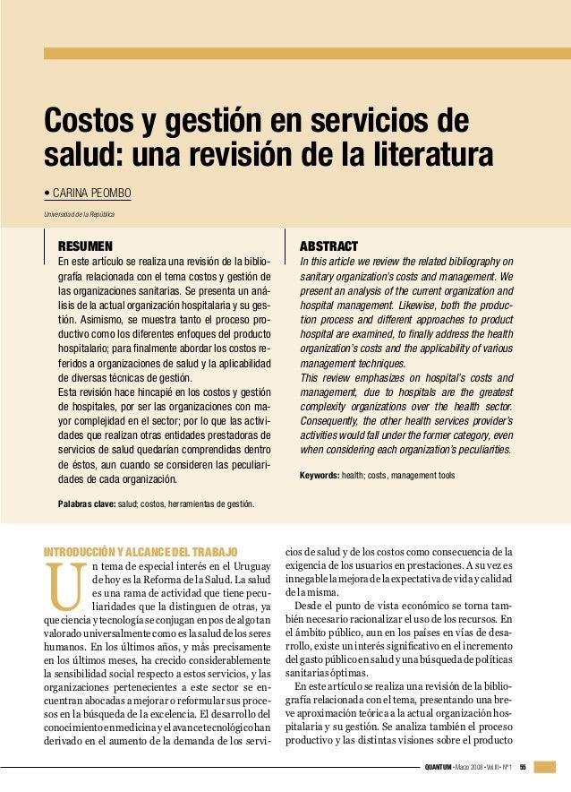Costos y gestión en servicios de salud: una revisión de la literatura • CARINA PEOMBO Universidad de la República  RESUMEN...