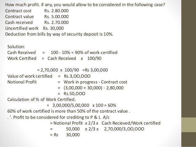 Meaning Of Contract Costing And Notional Profit