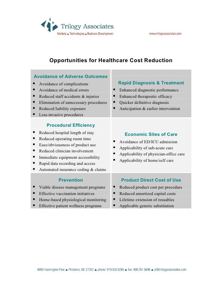 Opportunities for Healthcare Cost Reduction  Avoidance of Adverse Outcomes   Avoidance of complications              Rapid...