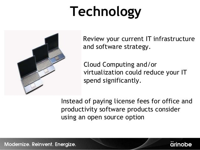Technology       Review your current IT infrastructure       and software strategy.       Cloud Computing and/or       vir...