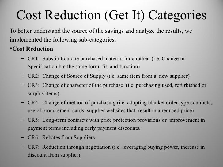 Cost Reduction And Avoidance