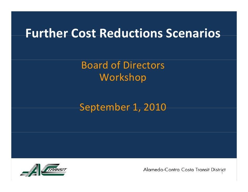 FurtherCostReductionsScenarios Further Cost Reductions Scenarios           BoardofDirectors             Workshop    ...