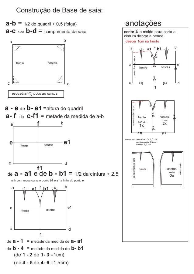 Construção de Base de saia: a b c d a-b = 1/2 do quadril + 0,5 (folga) a-c e de b-d = comprimento da saia esquadrar todos ...