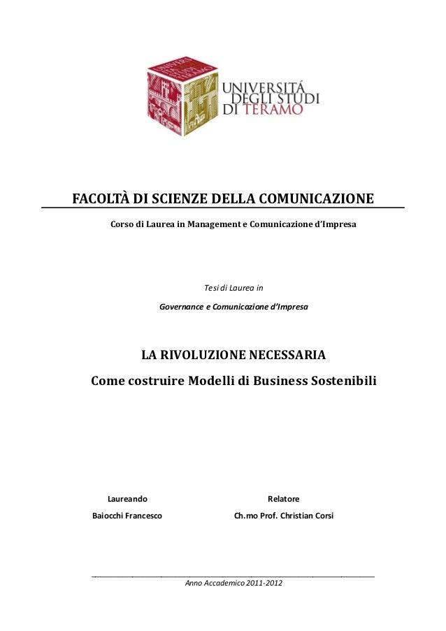 FACOLTÀ DI SCIENZE DELLA COMUNICAZIONE      Corso di Laurea in Management e Comunicazione d'Impresa                       ...