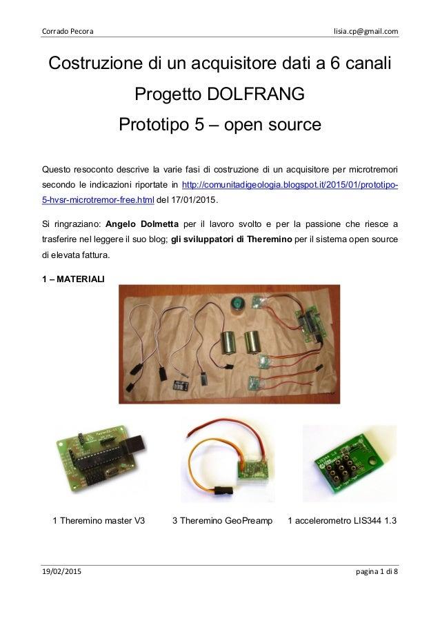 Corrado Pecora lisia.cp@gmail.com 19/02/2015 pagina 1 di 8 Costruzione di un acquisitore dati a 6 canali Progetto DOLFRANG...