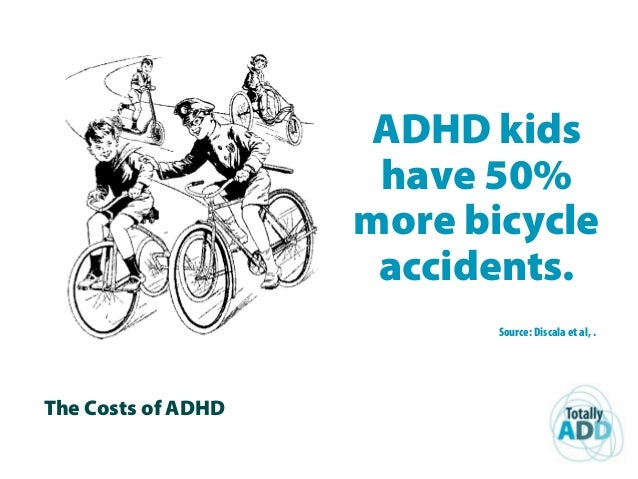 The Costs of ADHD ADHD kids have 50% more bicycle accidents. Source: Discala et al, .